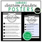 Editable Classroom Procedure Posters