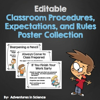 Editable Classroom Procedures, Expectations, and Rules Poster Collection