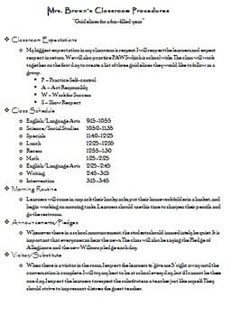 Editable Classroom Procedures Format
