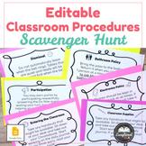 Editable Classroom Procedures Scavenger Hunt - Great for b