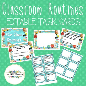 Editable Classroom Routine Task Cards