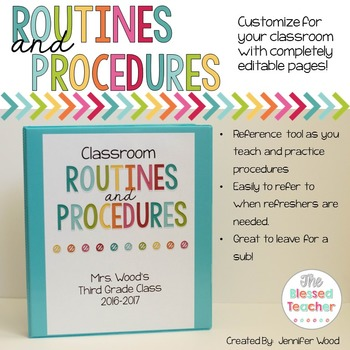 Editable Classroom Routines and Procedures Binder