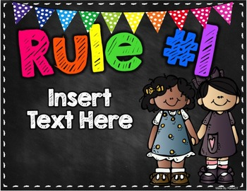 *Editable* Classroom Rules {Black & Brights Theme}