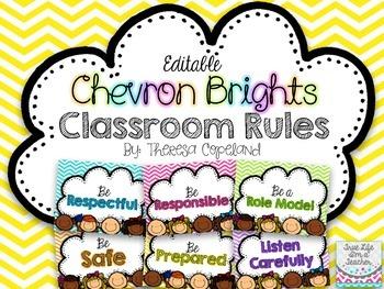 Editable Classroom Rules {Chevron Brights}