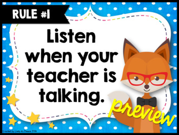 Editable Classroom Rules Hipster Animals Theme