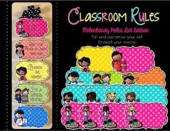 Editable Classroom Rules {Polka Dot Kidlettes Edition}