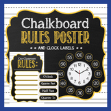 Editable Classroom Rules Poster   Clock Labels   Chalkboard Theme