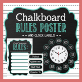 Editable Classroom Rules Poster   Clock Labels   Teal Chalkboard Theme