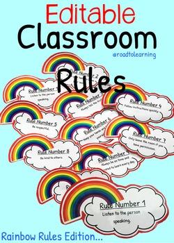Editable Classroom Rules: Rainbow Rules Edition