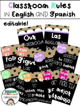 Editable Classroom Rules in English and Spanish !