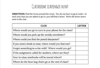 Editable Classroom Scavenger Hunt