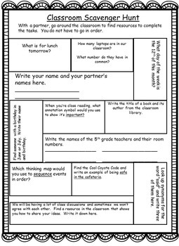 Editable* Classroom Scavenger Hunt and Printable Pathway Sheet
