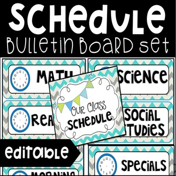 Editable Classroom Schedule Bulletin Board Set