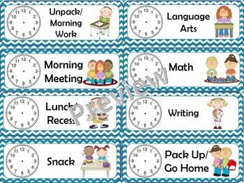 Classroom Schedule Cards (chevron)
