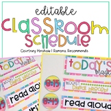 Editable Classroom Schedule Cards