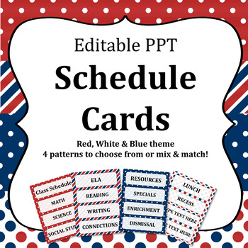 Editable Classroom Schedule Cards Patriotic Theme