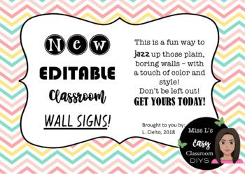 Editable Classroom Signs!