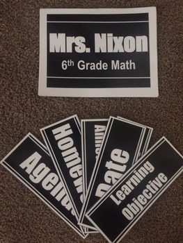 Editable Classroom Signs-Black and White