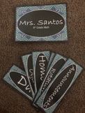 Editable Classroom Signs-Blue and Teal