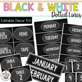 Editable Classroom Signs & Labels: Black & White Dotted Lines