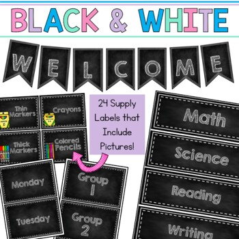 Editable Classroom Signs & Labels: Chalkboard Black and White with Pictures