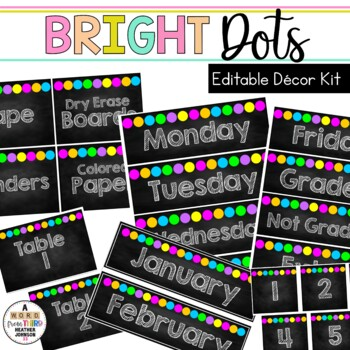 Editable Classroom Signs & Labels: Chalkboard Bright DOTS