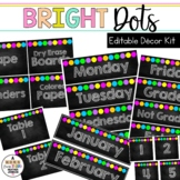 Editable Classroom Signs & Labels Chalkboard Bright DOTS