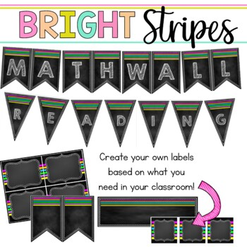 Editable Classroom Signs & Labels: Chalkboard Brights