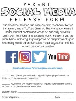 Editable Classroom Social Media Release Form