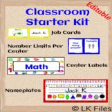 Editable Classroom Starter Kit - Center Labels, Desk Nameplates, and More!