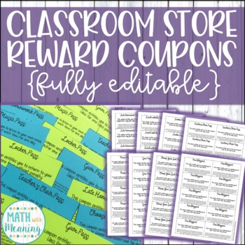 Editable Classroom Store Reward Coupons for Middle School - Classroom Economy