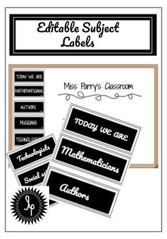Editable Classroom Subject Labels