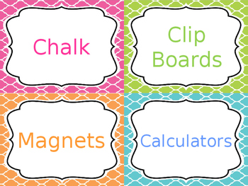 Classroom Supply Labels - Editable