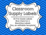 Editable Classroom Supply Labels {Blue Chevron}