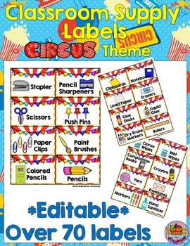 Editable Classroom Supply Labels-Circus Theme