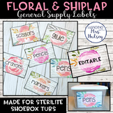 Editable Classroom Supply Labels (Floral and Shiplap)