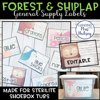 Editable Classroom Supply Labels (Forest and Shiplap)