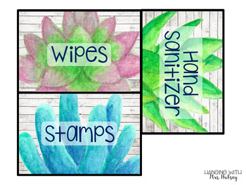 Editable Classroom Supply Labels (Succulent and Shiplap)