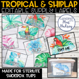 Editable Classroom Supply Labels (Tropical and Shiplap)