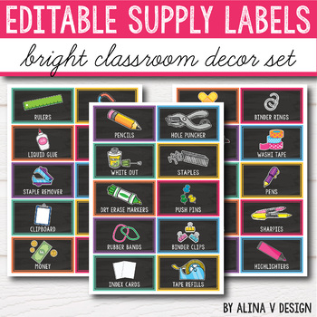 Editable Classroom Supply Labels with Pictures - Bright Labels