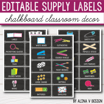 Editable Classroom Supply Labels with Pictures - Chalkboard Labels