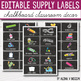 Editable Classroom Supply Labels with Pictures - Editable Chalkboard Labels