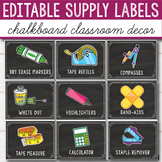 Editable Classroom Supply Labels with Pictures - Chalkboar
