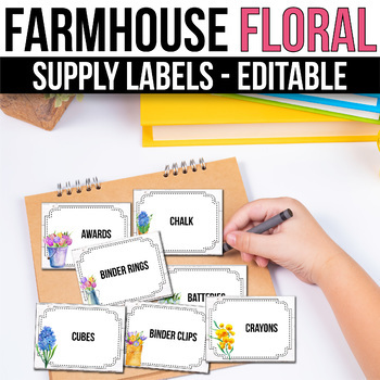Editable Classroom Supply Labels with Pictures, Farmhouse Floral Classroom Decor