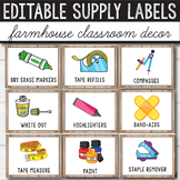 Editable Classroom Supply Labels with Pictures - Farmhouse Themed Classroom