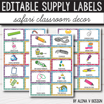 Editable Classroom Supply Labels with Pictures - Jungle Themed Classroom