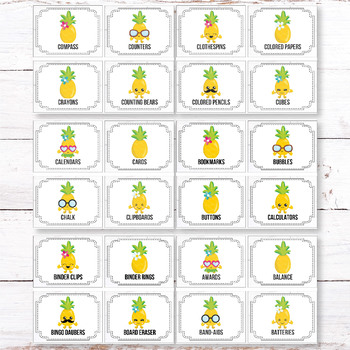 Editable Classroom Supply Labels with Pictures, Pineapple Classroom Decor