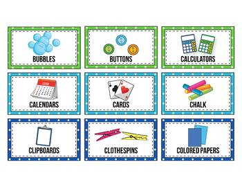 Editable Classroom Supply Labels with Pictures, Polka Dot Classroom Decor