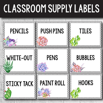 Editable Classroom Supply Labels with Pictures - Succulent Themed Classroom