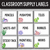 Editable Classroom Supply Labels with Pictures - Succulent